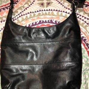 Coach Black leather Pieced Duffle